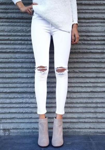 Weiße Zerrissen Ripped Hohe Taille mit Löchern Bleistifthose Damen Strassenmode Long Jeans