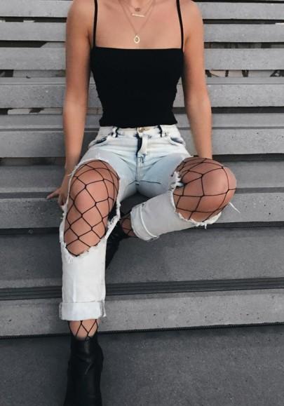 Jeans découpes match fishnet collants élevé taille crayon déchiré bleu