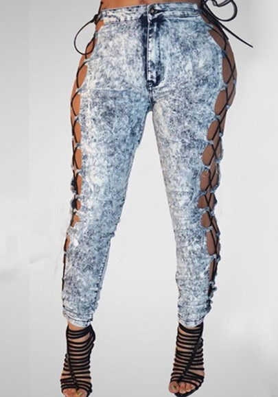 Light Blue Patchwork Hollow-out Lace-up Buttons Pockets Sexy Clubwear Long Jeans