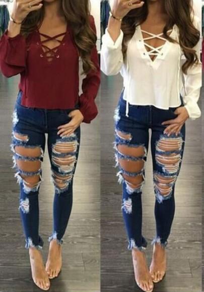 Jeans longue destroy avec poches skinny slim sexy mode femme denim bleu