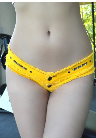 Gelbe Knöpfe Low-rise Schlank Verein Kurze Jeans
