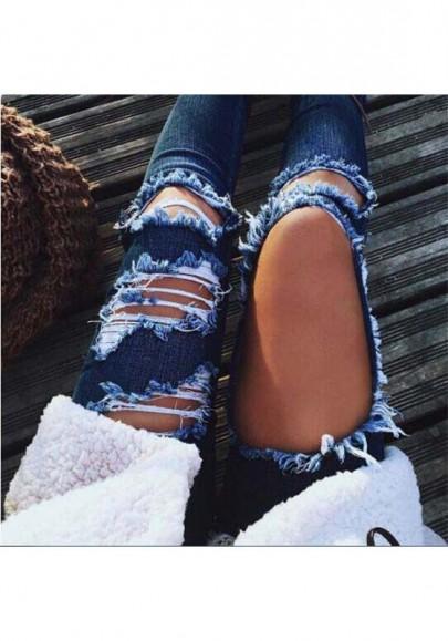 Jeans destroy déchiré avec poches boutons troué slim mode femme denim bleu