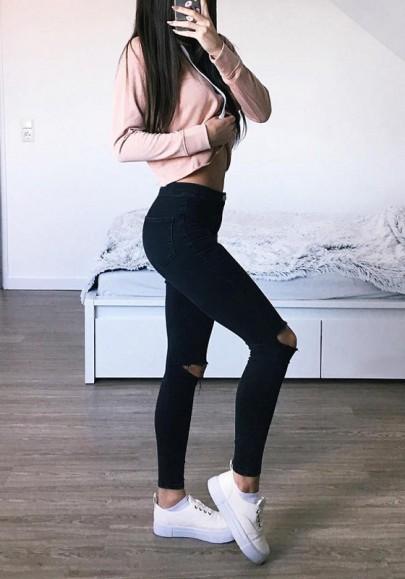 Schwarz Ripped Zerrissene Hoch Tailliert Skinny Bleistift Lang Jeans Damen Mode