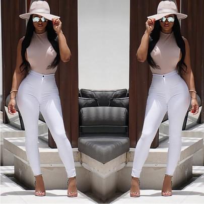 Pantalones vaqueros largos bolsillos botones cremallera alta cintura casuales blanco