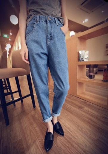 Blau Taschen Reißverschluss Lang Locker Beiläufige Mom Boyfriend Jeans Damen Mode