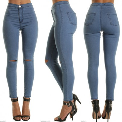 Jeans découpes boutons fermeture éclair taille haute décontracté neuf bleu