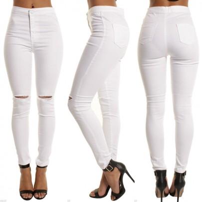 Jeans cerniera con bottoni tagliati vita alta nove casuale bianchi