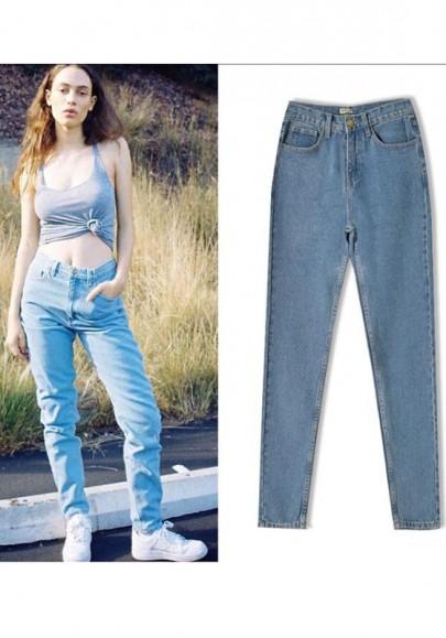 Long jeans poches fermeture éclairs à taille haute occasionnel moulant bleu clair
