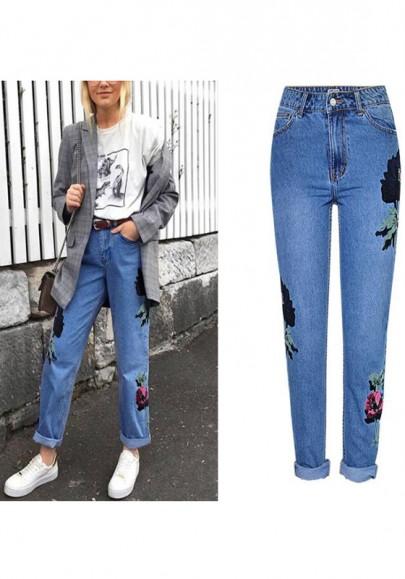 Long jeans poches fermeture éclairs fleuries taille haute petit ami bleu