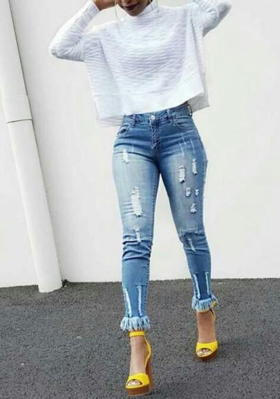 Blaue Taschen Knöpfe Quaste zerstören Freund hoch taillierte Mom lange Jeans