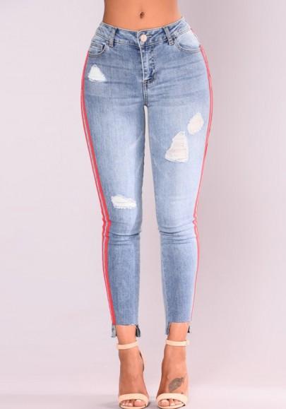 Hellblau Gestreiftes Taschen Zerrissene Hohe Taille Lange Schlank Jeans Push Up Hose Damen Günstig