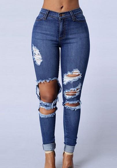 Dunkelblau Taschen Hohe Taille Lange Schlank Zerrissene Jeans Push Up Hose Damen