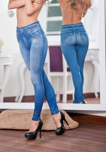 Long jeans boutons poches fermeture éclair taille haute bleu