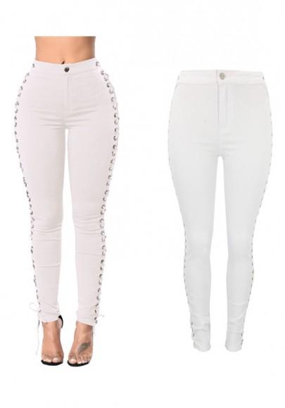 Jeans hendidura de talle alto con cordones delgado casuales blanco