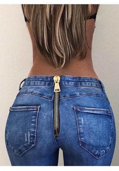 Jeans longue fermeture arriere avec poches slim fitness mode femme bleu