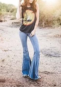 Jeans flare longue taille haute slim mode femme bleu clair