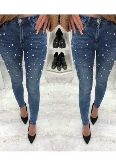 Longue jeans avec perle poches slim fitness mode décontracté bleu