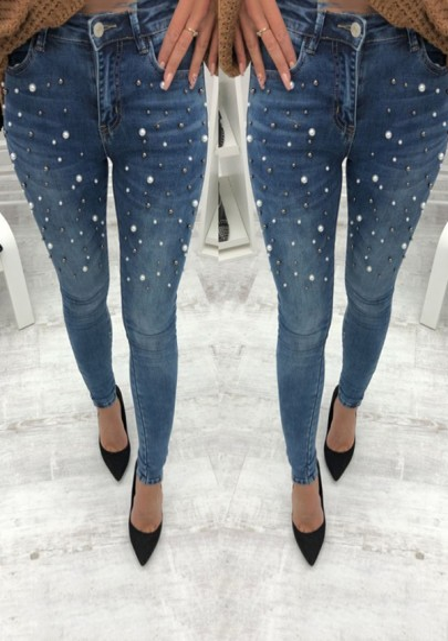 Blaue Perlen Taschen Knöpfe Lange Jeans Skinny High Waist Push Up Hosen Outfit Damen Mode