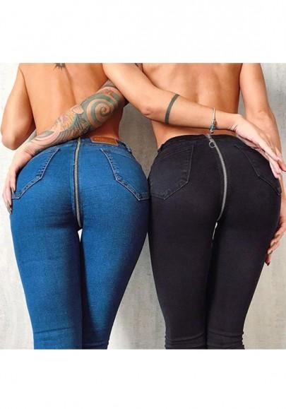 Jeans longue fermeture éclair arriere push up slim mode bleu foncé femme