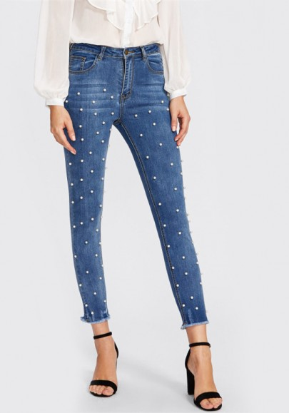 Dark Blue Beading High Waisted Fashion Button Fly Long Jean