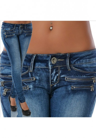Pantalones vaqueros largos botones con cremallera cintura normal casuales azul claro