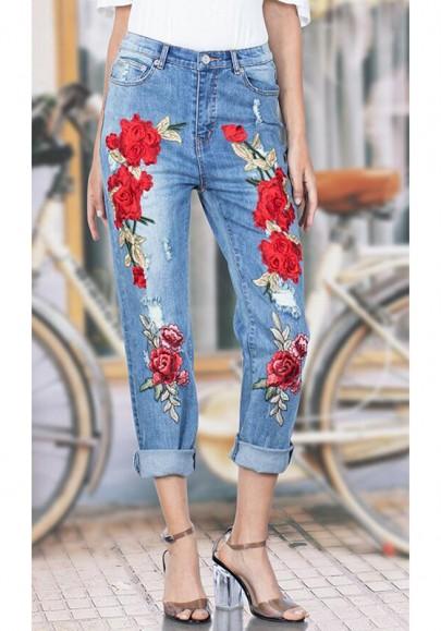 Hellblau Rose Stickerei Taschen Reißverschluss Hohe Taille Denim Mode Jeans Hose Damen