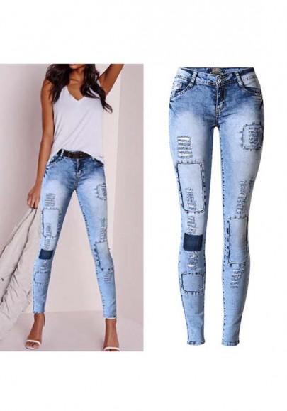 Blau ausgeschnittene Knöpfe Reißverschluss Low-Rise Mode Lange Jeans