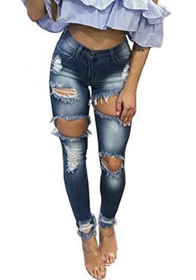 longue jeans d coup genou trou poches taille haute slim mode femme bleu jeans bas. Black Bedroom Furniture Sets. Home Design Ideas