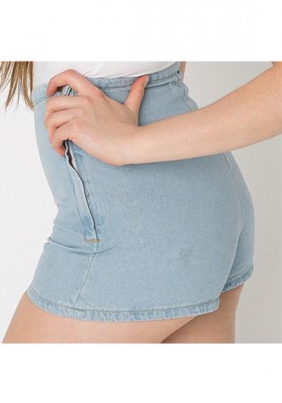 Hellblau Knöpfen Reissverschluss Hohe Taille Push Up Skinny Mode Kurze Jeans Shorts Damen Hot Pants