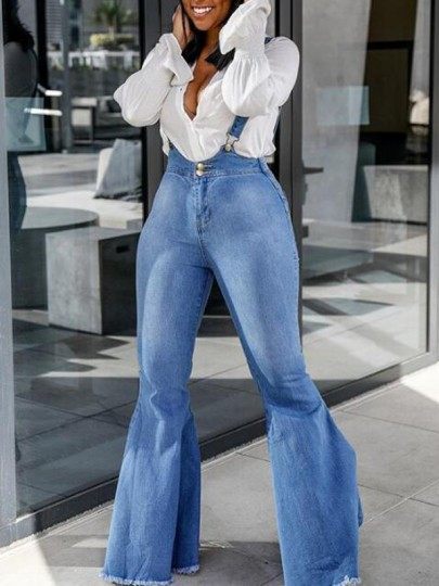 Light Blue Draped Buttons Flare Bell Bottom High Waisted Denim Casual Overall Pants