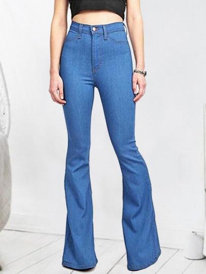 Jeans flare patte d'eph culotte haute slim mode femme denim pantalons bleu