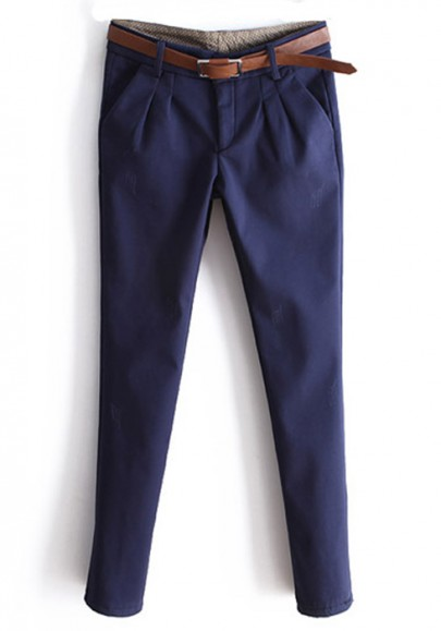 Dark Blue Low Waist Long Skinny Cotton Leggings