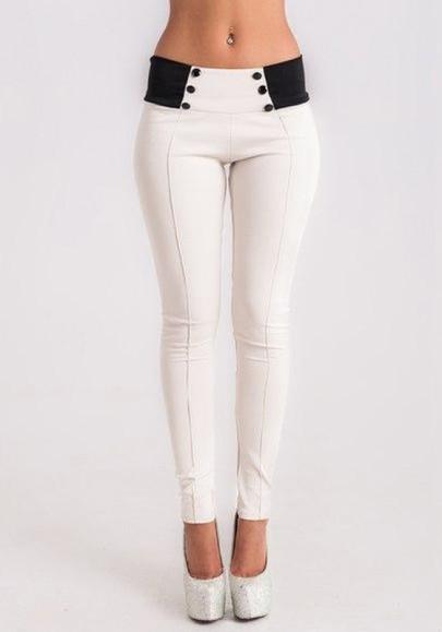 Legging llano elástico cintura normal larga ocasional delgada blanca
