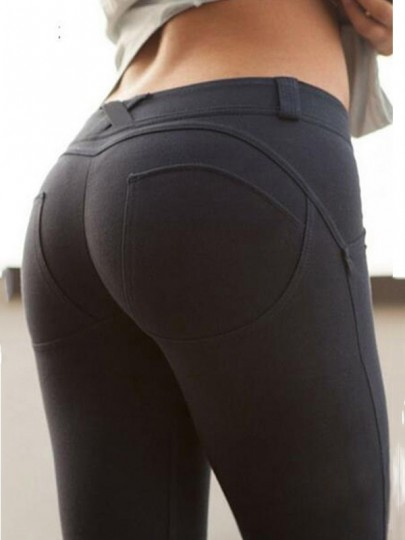 Black Elastic Waist Mid-rise Push Up Slim Casual Big Booty Legging
