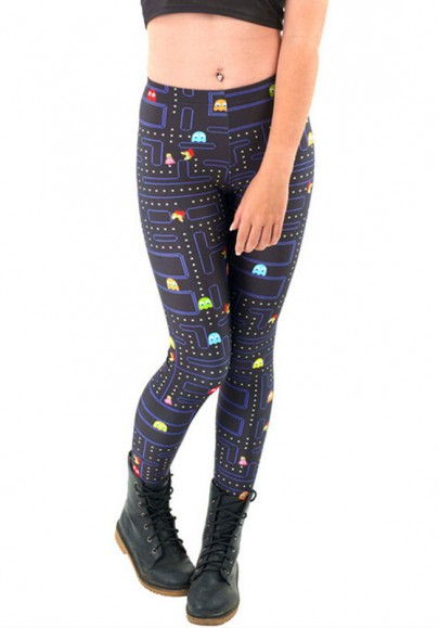 Black Geometric PacMan Print Stretch Yoga Slim Sock Casual Sports Legging