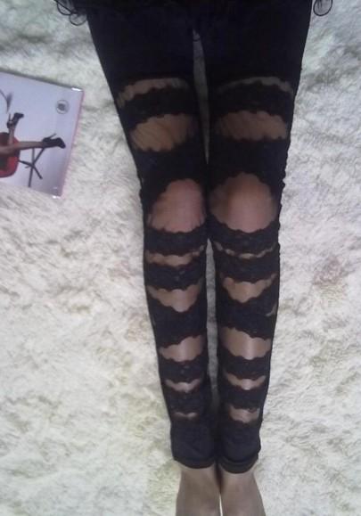 Schwarz Spitze Mesh Patchwork Elastische Taille Hohe Taille Lange Leggings Strumpfhose Damen Mode