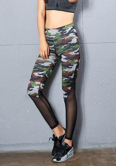 Camouflage Patchwork Grenadine Plus Size Casual Legging