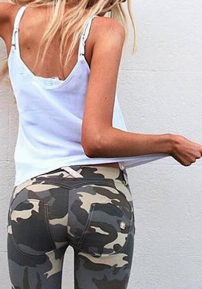 Dunkelgrün Camouflage Taschen High Waisted Skinny Sports Push Up Yoga Lange Leggings Damen Mode
