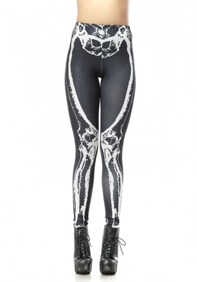 White-Black Skeleton Print Stretch Yoga Slim Sock Fashion Sports Legging