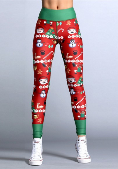 Red-Green Christmas Floral High Waisted Yoga Slim Sock Casual Santa Sports Legging