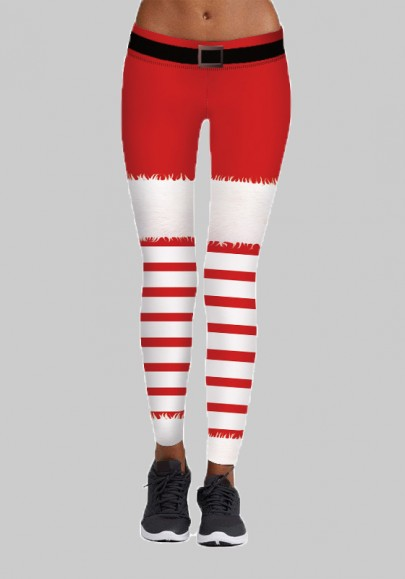 Rot Weiß Gestreift Yoga Weihnachtsmotiven Christmas Santa Workout Skinny Leggings Damen