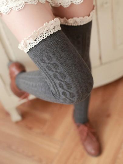 Bas en laine crochet tricoté avec dentelle doux mignon femme genou haute chaussettes gris foncé
