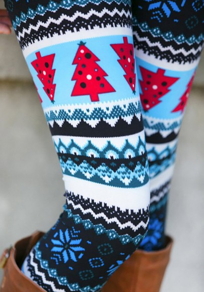 Leotardos estampado floral elástico moda navidad largo multicolor