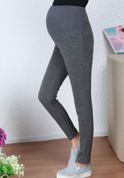 Leggings élastique taille haute décontracté épais maternité d'hiver gris