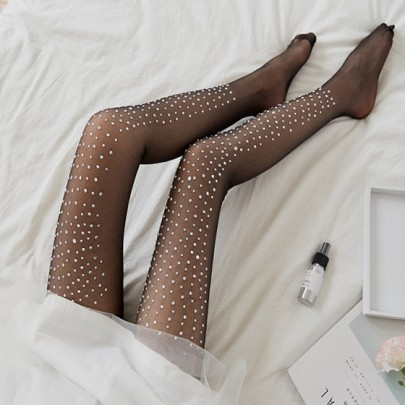 Leggings strass élastique mode long noir