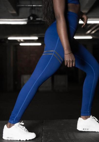 Legging élastique fitness sport yaga longue bleu