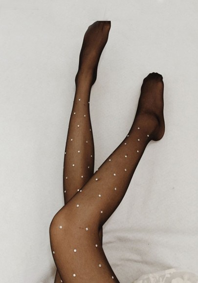 Schwarz Patchwork Strass Ausgeschnitten Elastische Taille Dünne Strumpfhose Lange Leggings Damen