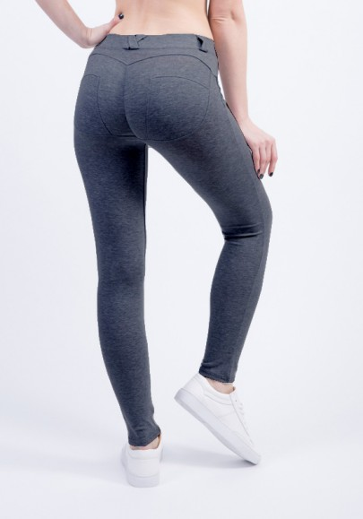 Dark Grey Elastic Waist Mid-rise Push Up Slim Sports Leggings