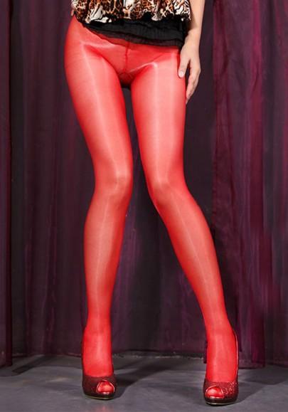 Leggings plaine fil lumineux élastique longue rouge
