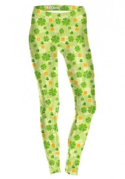 Legging floral san patricio día cuatro hojas trébol moda yoga verde